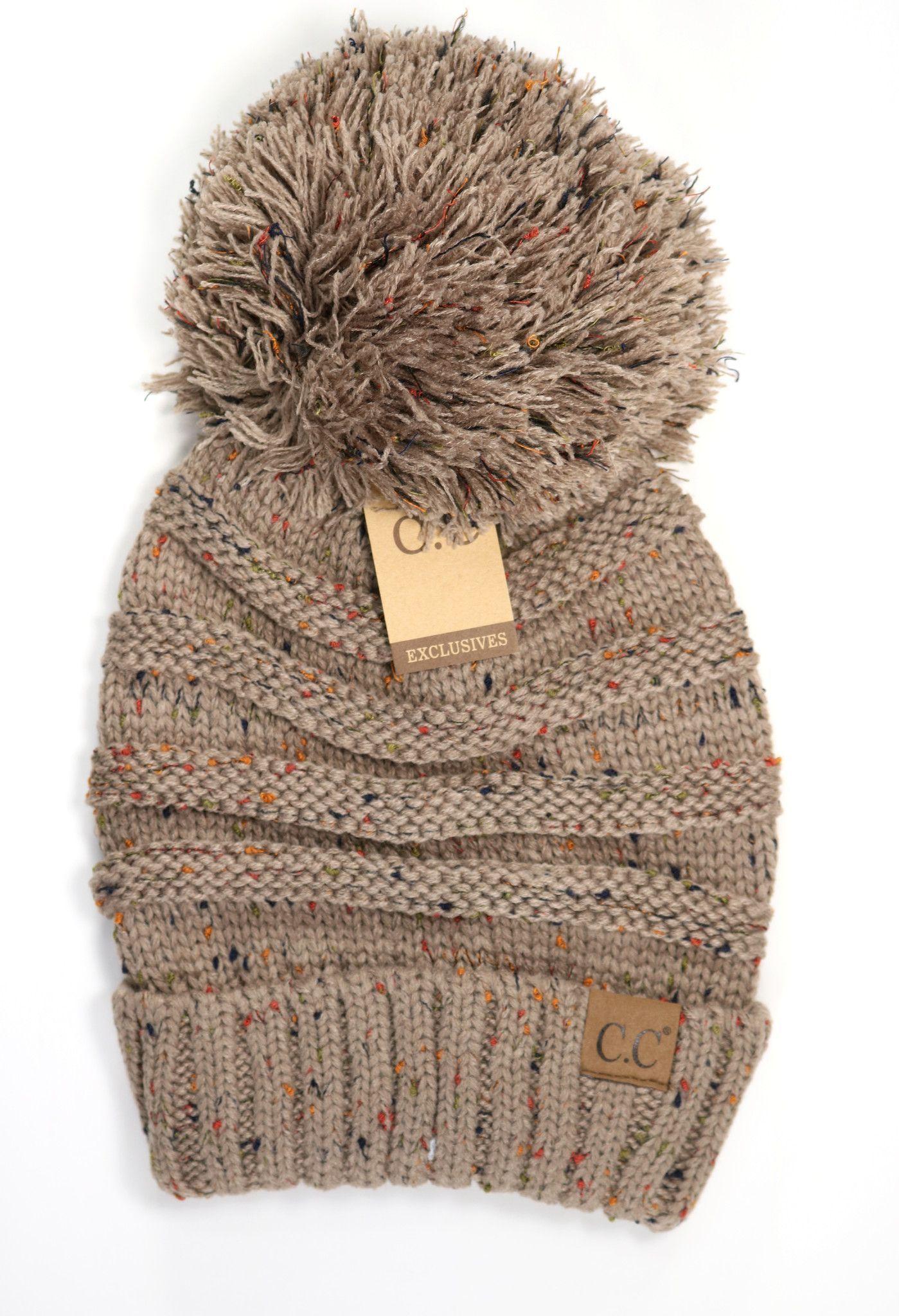 68c36c96422 Flecked Slouchy Pom CC Beanie Hat200Pom