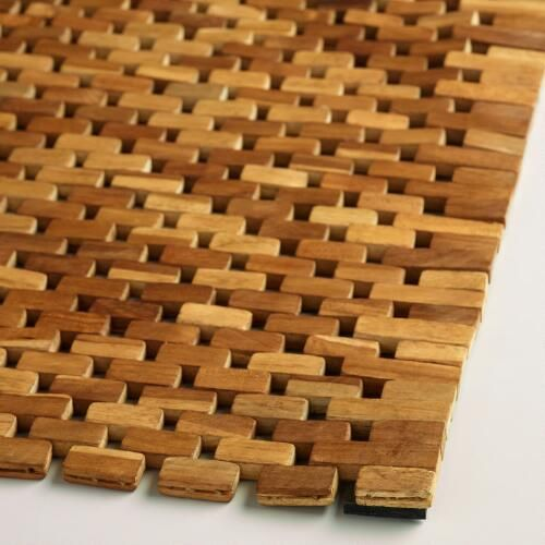 Featuring An Interlocking Woven Design With A Tropical Appeal Our Bath Mat Is Handcrafted In Indonesia Of 100 Teak Wood Wood Bath Mats Wood Bath Teak Wood