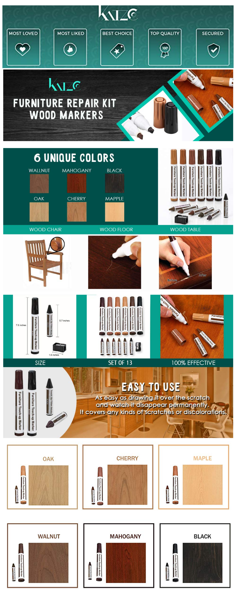 Furniture Repair Kit Wood Markers Set Of 13 Markers And Wax Sticks With Sharpener Kit For Stains Scratches Woo Wood Markers Furniture Repair Markers Set