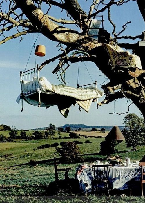 Would someone really sleep on a bed hanging from a tree?  Rhetorical question I guess, it appears that somebody does.