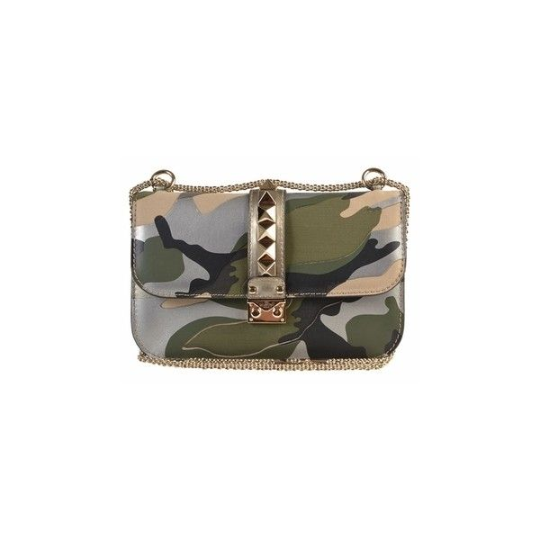 Valentino Glam Lock Chain Shoulder Bag Camo HWB00398 ANAT03 S37 (40.315 ARS) ❤ liked on Polyvore featuring bags, handbags, shoulder bags, camoflage purses, camo handbags, camouflage purse, camouflage shoulder bag and brown shoulder bag