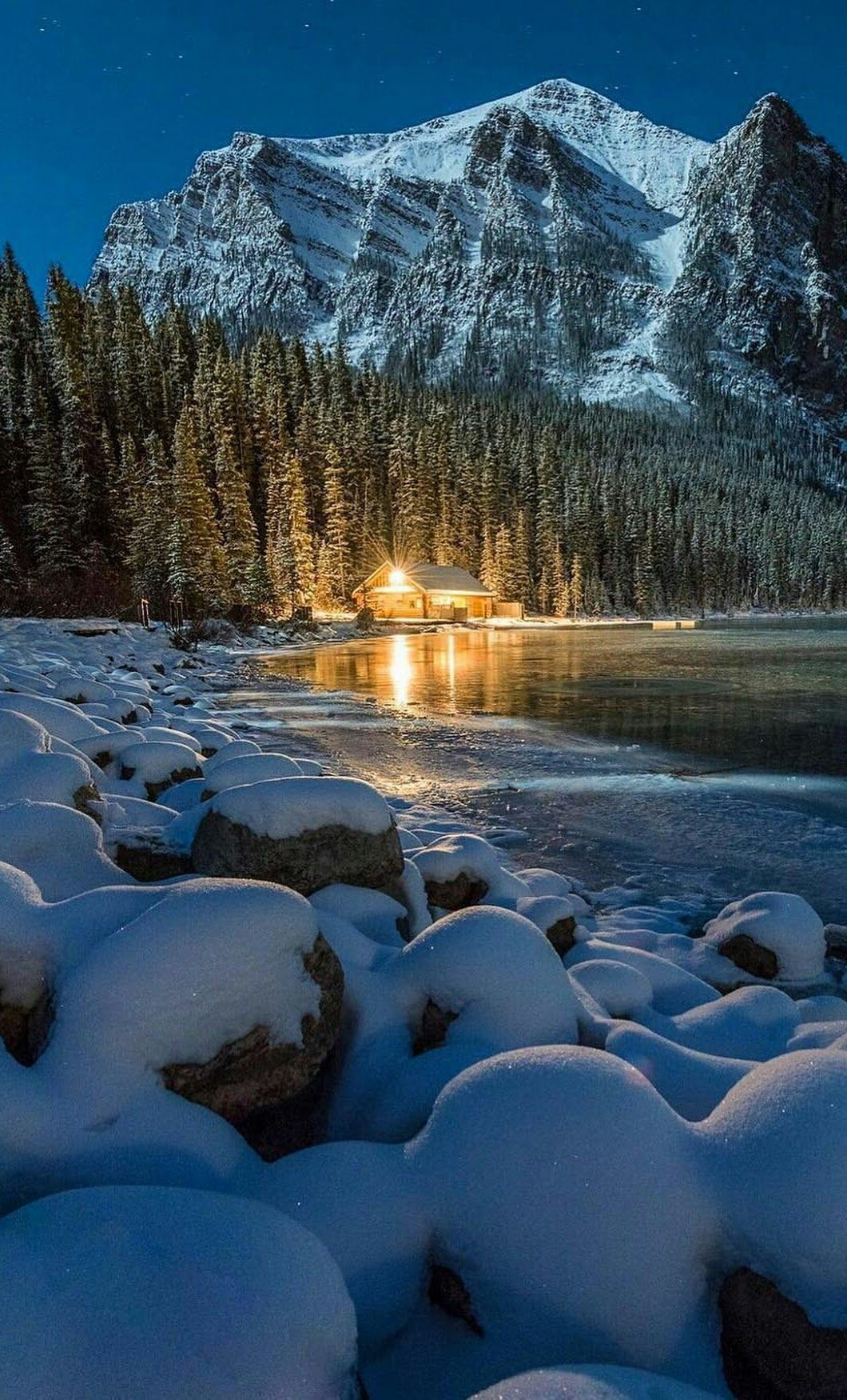 Forest Mountains Snow Cabin House Wilderness Nature Photography Winter Scenery Winter Landscape Nature Photography