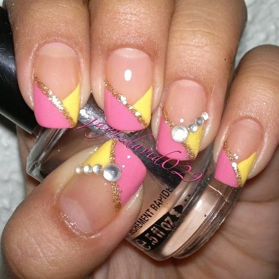 pink and yellow nails -inspiration