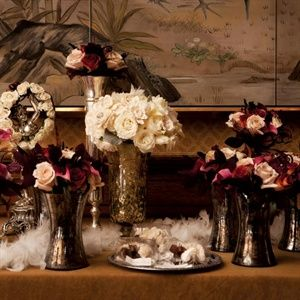 Copper And Mercury Gl Wedding Images Displays Of Vases Filled With Roses