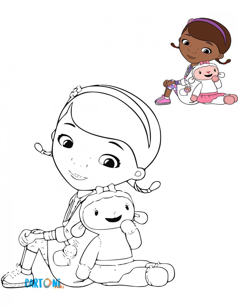 Stampa e colora dottoressa peluche cartoni animati for Cartoni animati da stampare e colorare