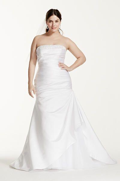 Strapless Satin Trumpet Plus Size Wedding Dress 9KP3716