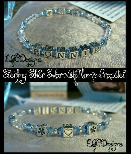 Swarovski Sterling Silver Name Bracelet  www.eyegotchacovered.info  #EGCdesign #GreatGift #Holidays #Birthdays #Love #DesignYourOwnLife