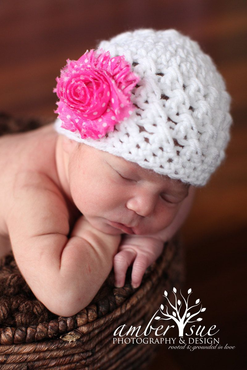 Baby Girl Knit White Hat Spring Summer with Removable Flower Clips. $20.00, via Etsy.
