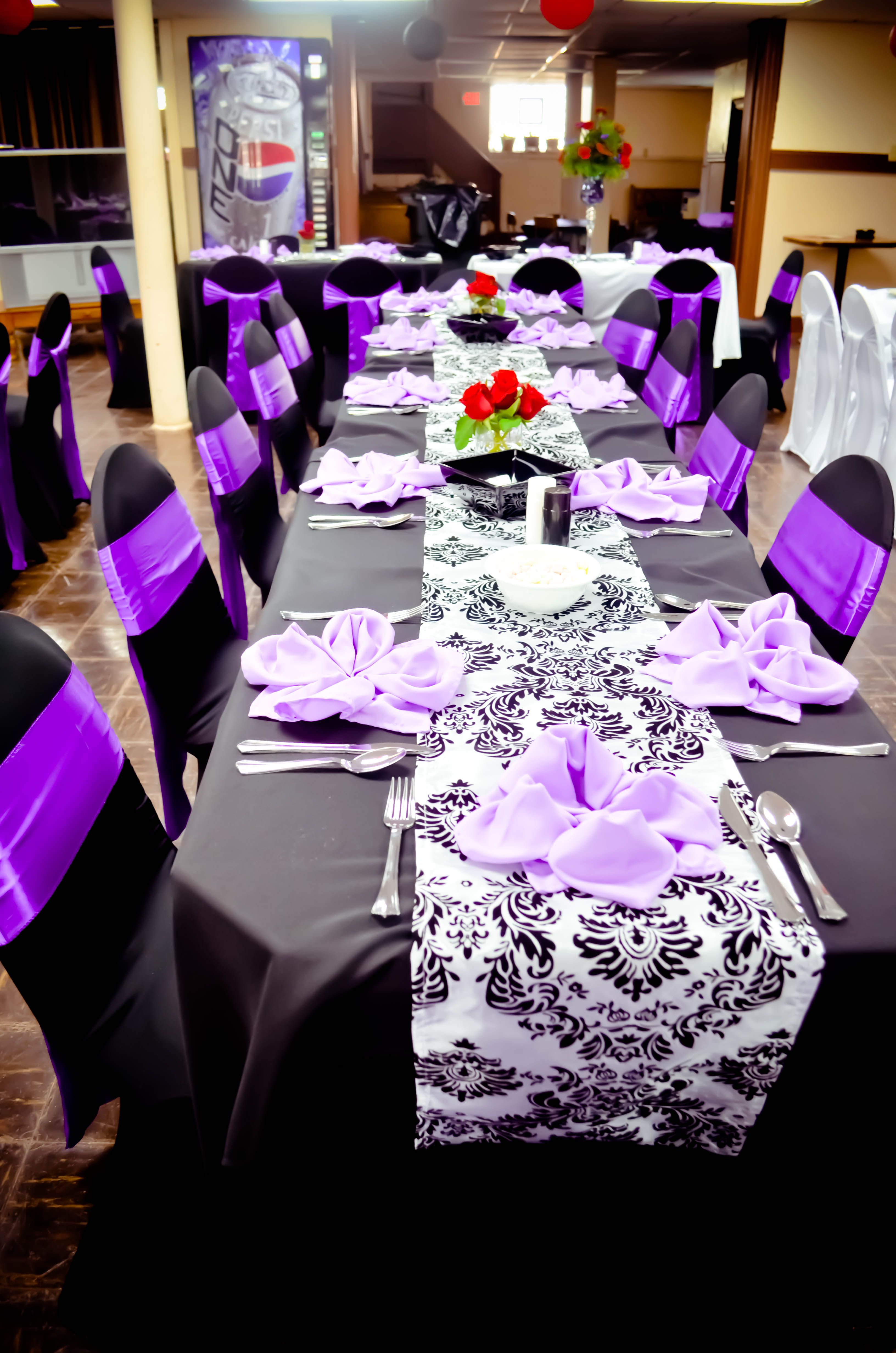 purple chair sashes for weddings 6 person table and set event black white spandex covers satin