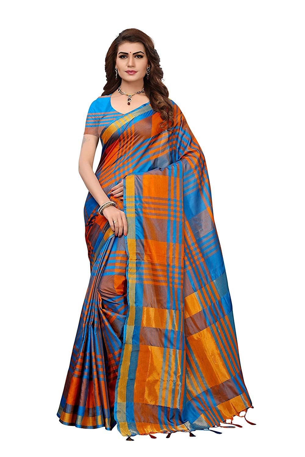 1a20305c475e9 Art Decor multicolor cotton silk festive wear saree with blouse. Saree  length  5.5 meter and blouse length  0.8 meter. Wash care  first wash dry  clean only.