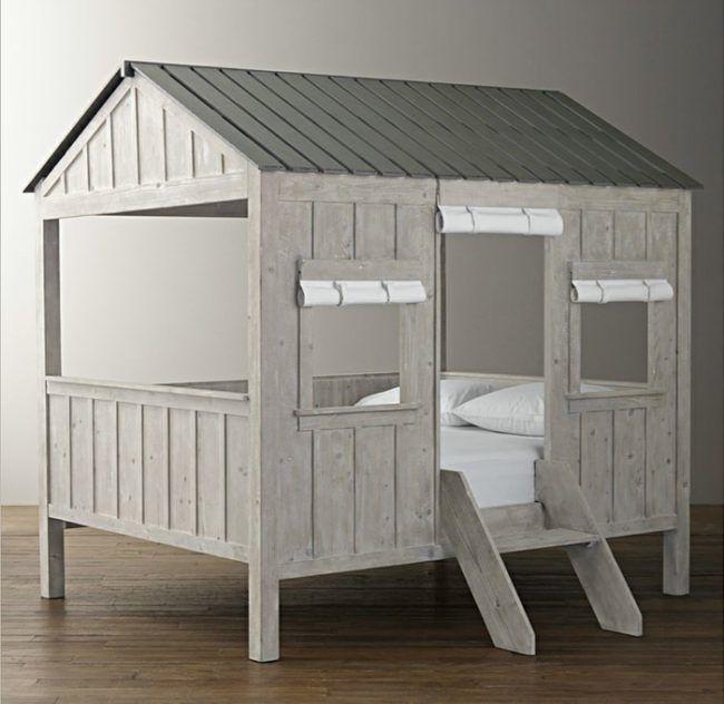 Originelles Bett Design für Kinder Realistische Hütte im