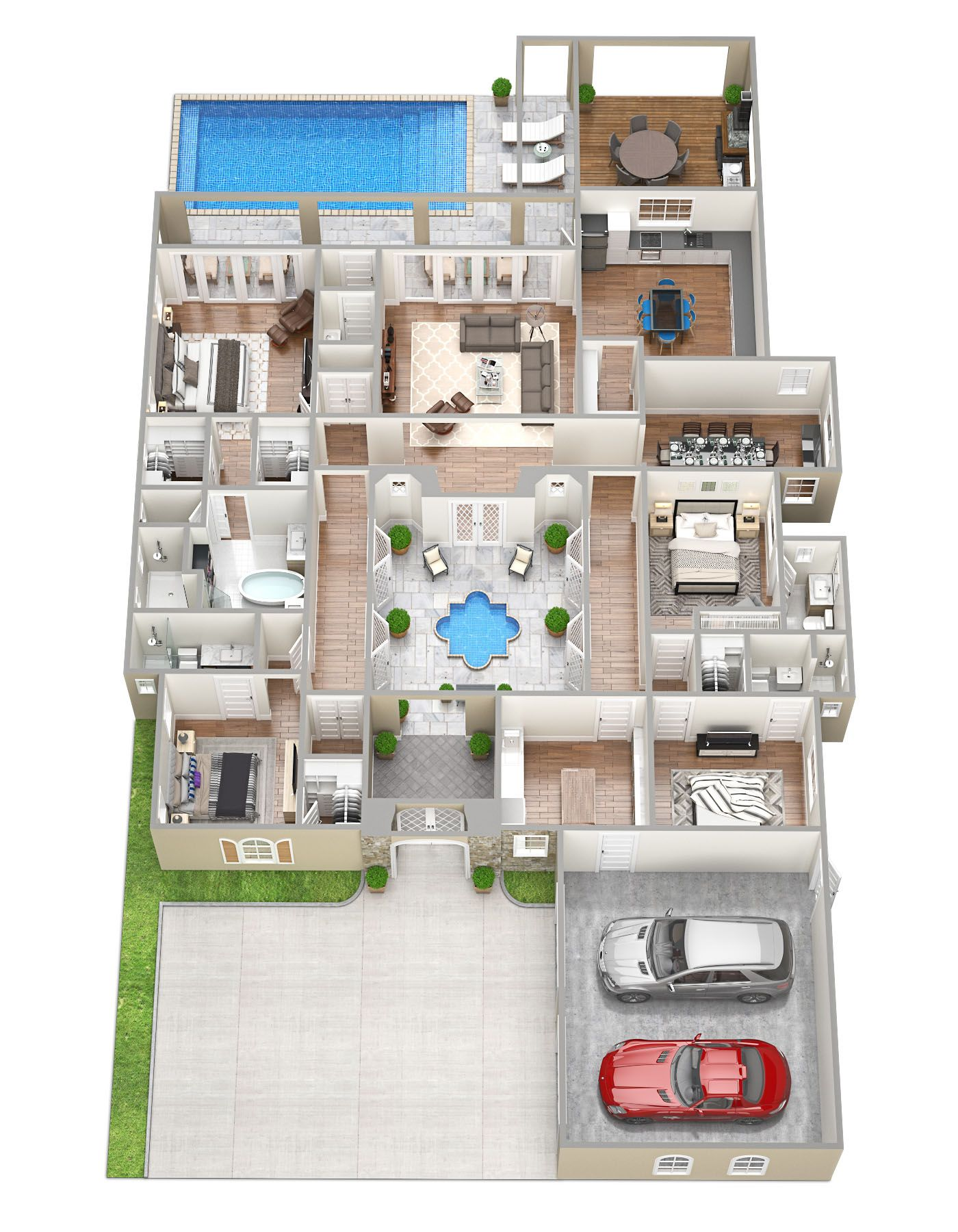 3D Floor Plans Sims house plans, Pool house plans, House