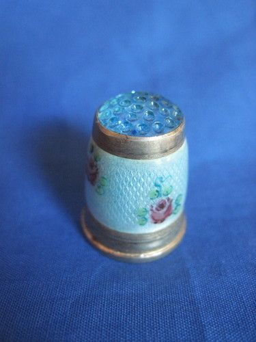 Blue Enamel w Pink Roses Sterling Silver Thimble w Blue Jeweled Top Germany | eBay  Aug 14, 2013 / US $39.58 / 1,306.14 RUB