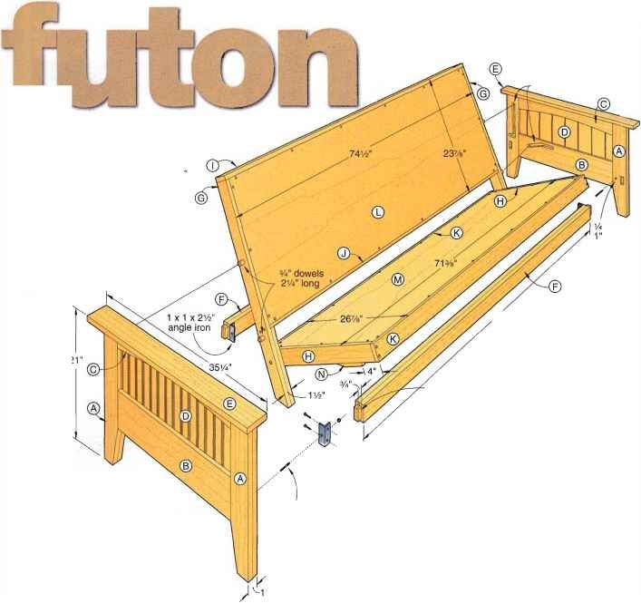 Wood Futon Frame Plans How To Build Furniture Futones Cama