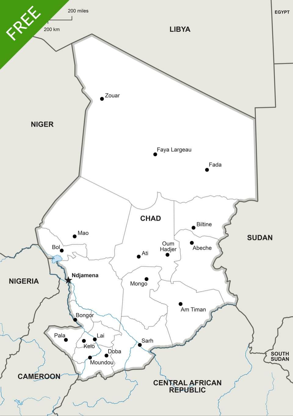 Free Vector Map of Chad Political | Maps of Africa - continent ... on