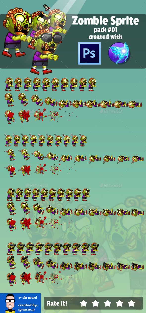 Zombie Enemy Sprite Sheet Pack 01 Download here https