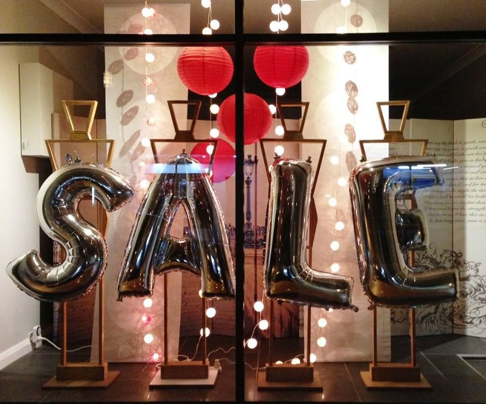 stitchings 39 pop up 39 sale window display silver letter balloons. Black Bedroom Furniture Sets. Home Design Ideas