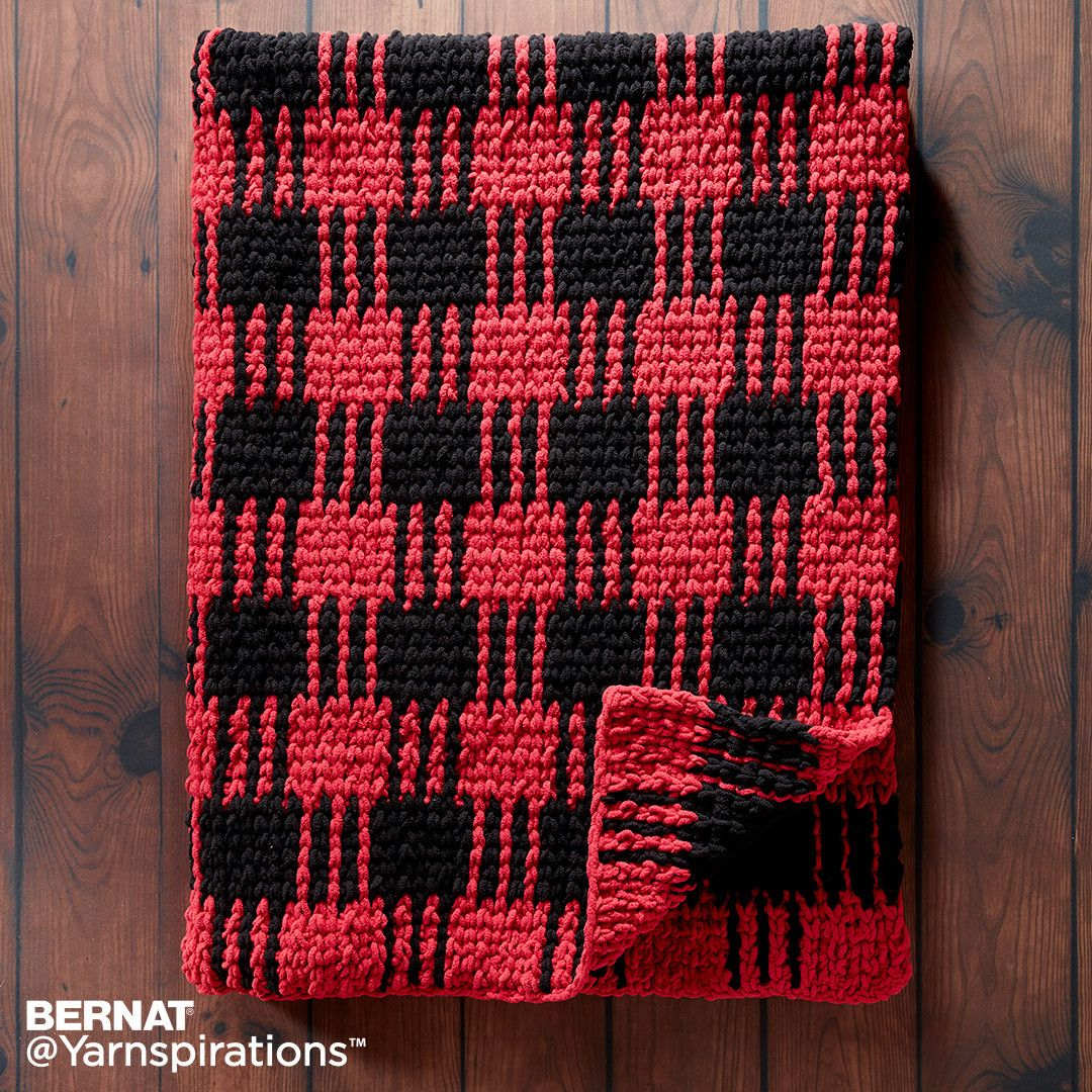 Crochet Buffalo Plaid Afghan, Crochet Pattern, Bernat  | Yarnspirations