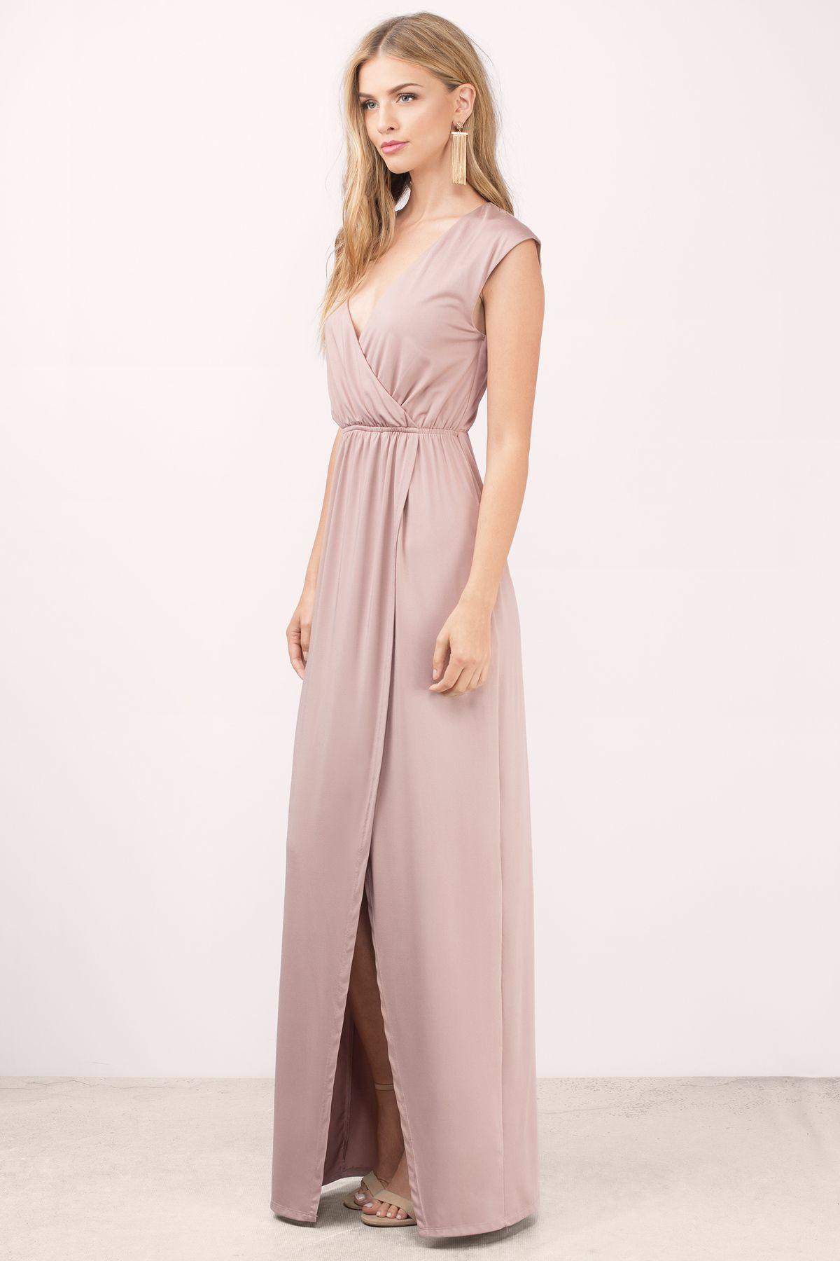 Bridesmaid Dresses, Tobi, Mauve What I Need Slit Maxi Dress ...