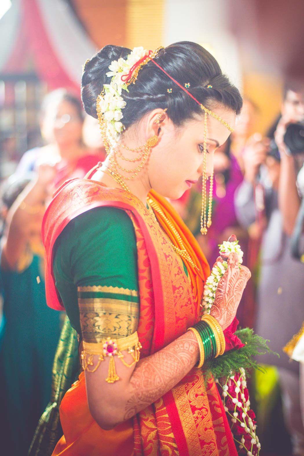 Stunning marathi bride in orange red and green ew in