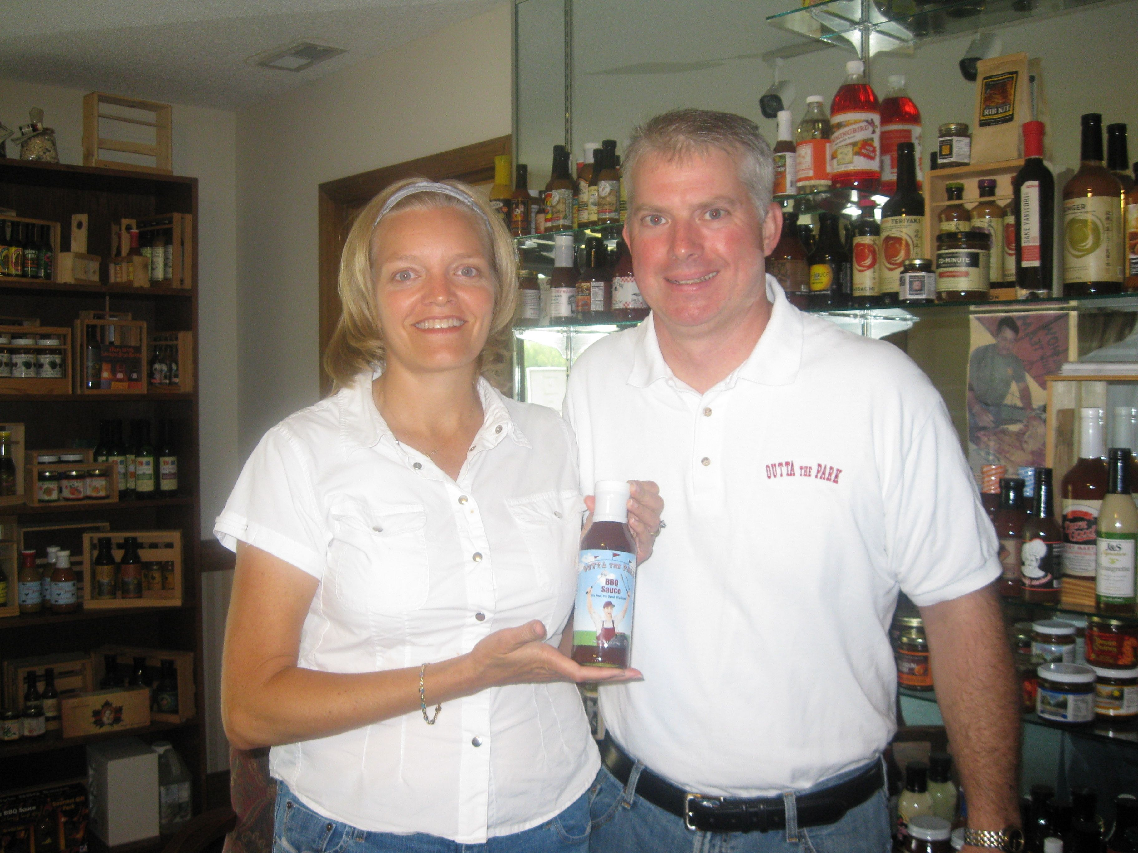 Here we are with the very first bottle of Outta the Park ~ Aug. 2009. Yes, we were nervous!