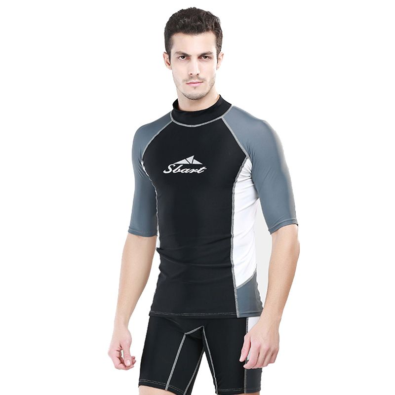 c0f1b38029 Sbart 1PC Half Sleeve Rash Guards Men Wetsuits T Shirts Or Shorts Surfing  Swimwear Bathing Suits Diving Suits 2018 DBO