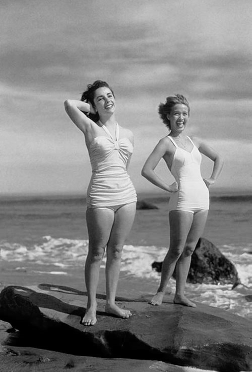 Elizabeth Taylor and Jane Powell in a publicity shot for A Date ...