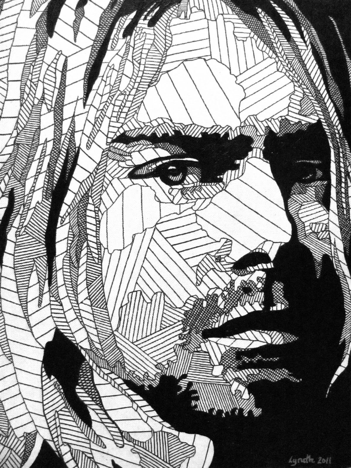 kurt cobain of nirvana 90s coloring page for adults visit