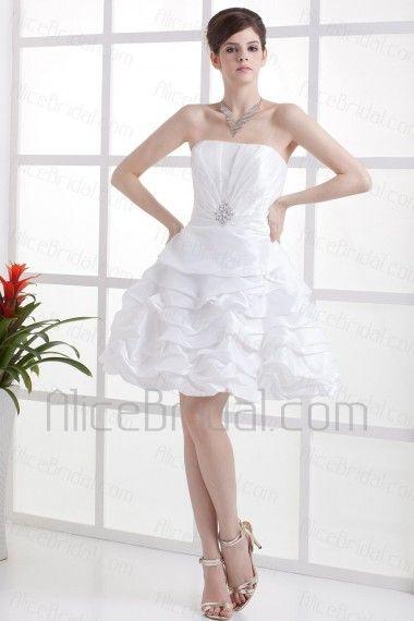 Taffeta Strapless Mini A Line Wedding Dress With Rhinestones And Ruffle Alice Bridal