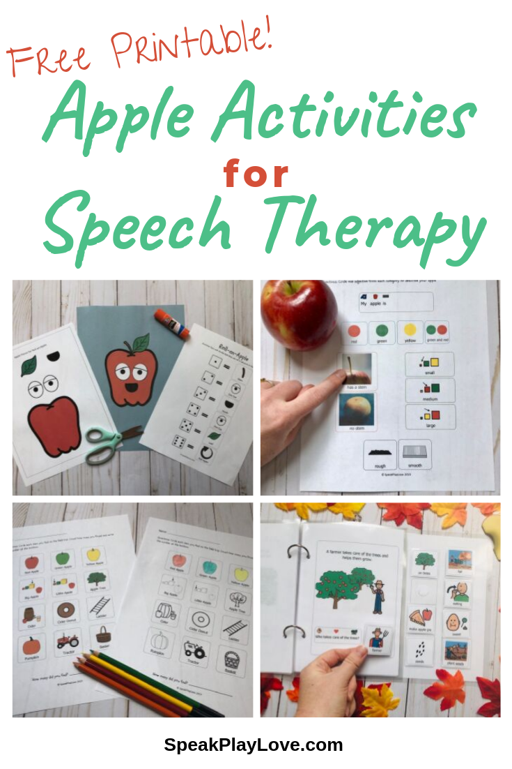 Apples Activities for Speech Therapy + Free Printable