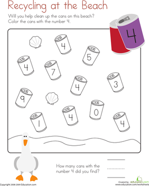 Coloring 4: Recycling at the Beach | Number worksheets, Worksheets ...