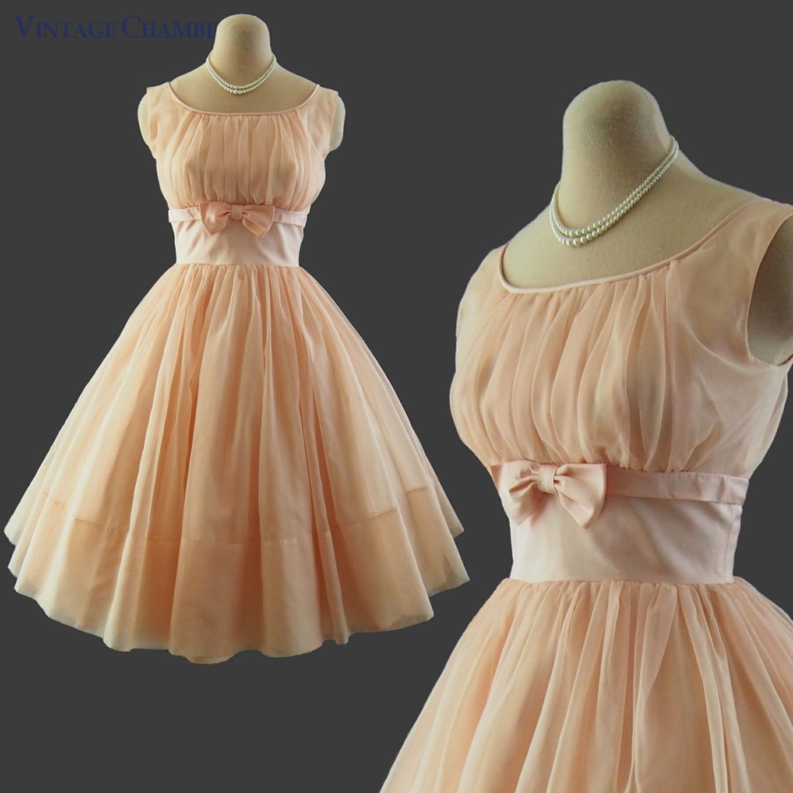 Details About Vtg 50s Peach Ruched Sheer Chiffon Full