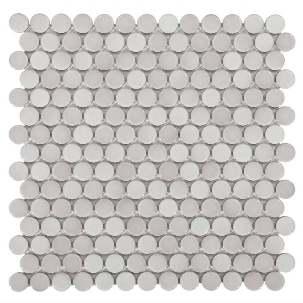 Gray Penny Porcelain Mosaic 10in. x 12in. 100053255