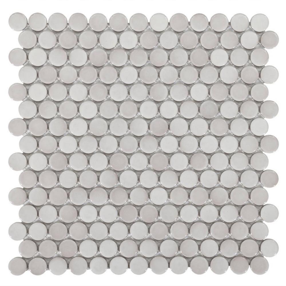 Floor And Decor Granite Tile Gray Penny Porcelain Mosaic  Mosaics Porcelain And Bath