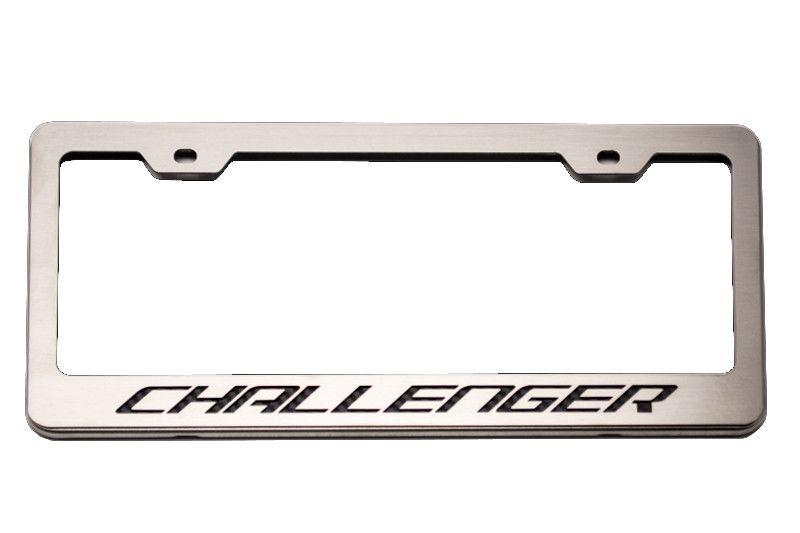 custom license plate frame with challenger lettering - Dodge License Plate Frame
