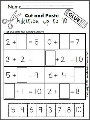 Free cut and paste addition math worksheet for adding up to 10 ...