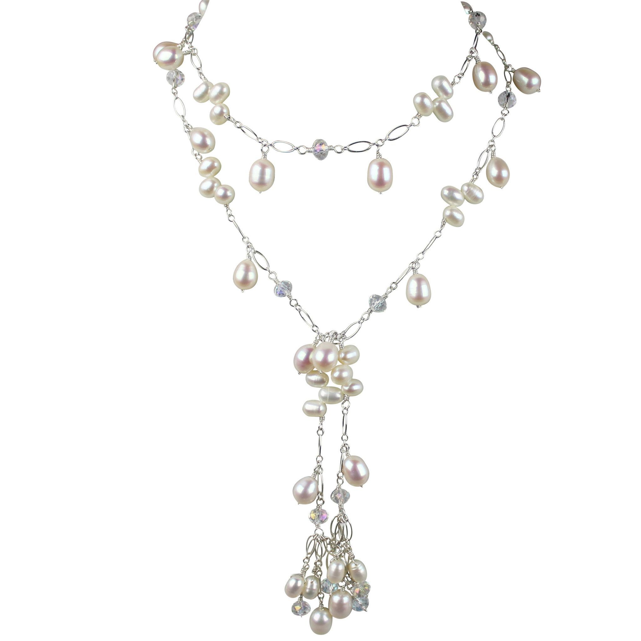 Pearl Amp Austrian Crystal Lariat Necklace