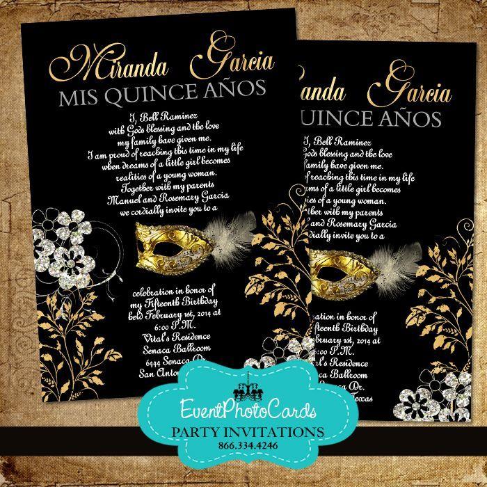 Quinceanera Masquerade Invitations Gold | Gold Quinceanera Themes ...
