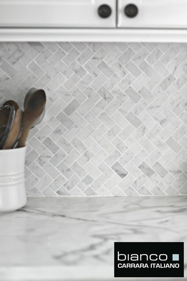 Room scenes carrara herringbone backsplash final Italian marble backsplash