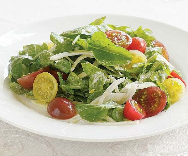 Heirloom Cherry Tomato, Fennel & Arugula Salad with Goat Cheese Dressing by Fine Cooking