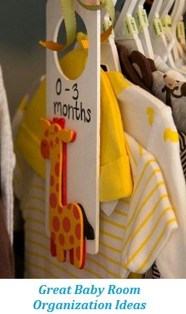 Baby Room Organization Ideas for the closet- so adorable! You can even make them yourself as a DIY project. The giraffes are so sweet.