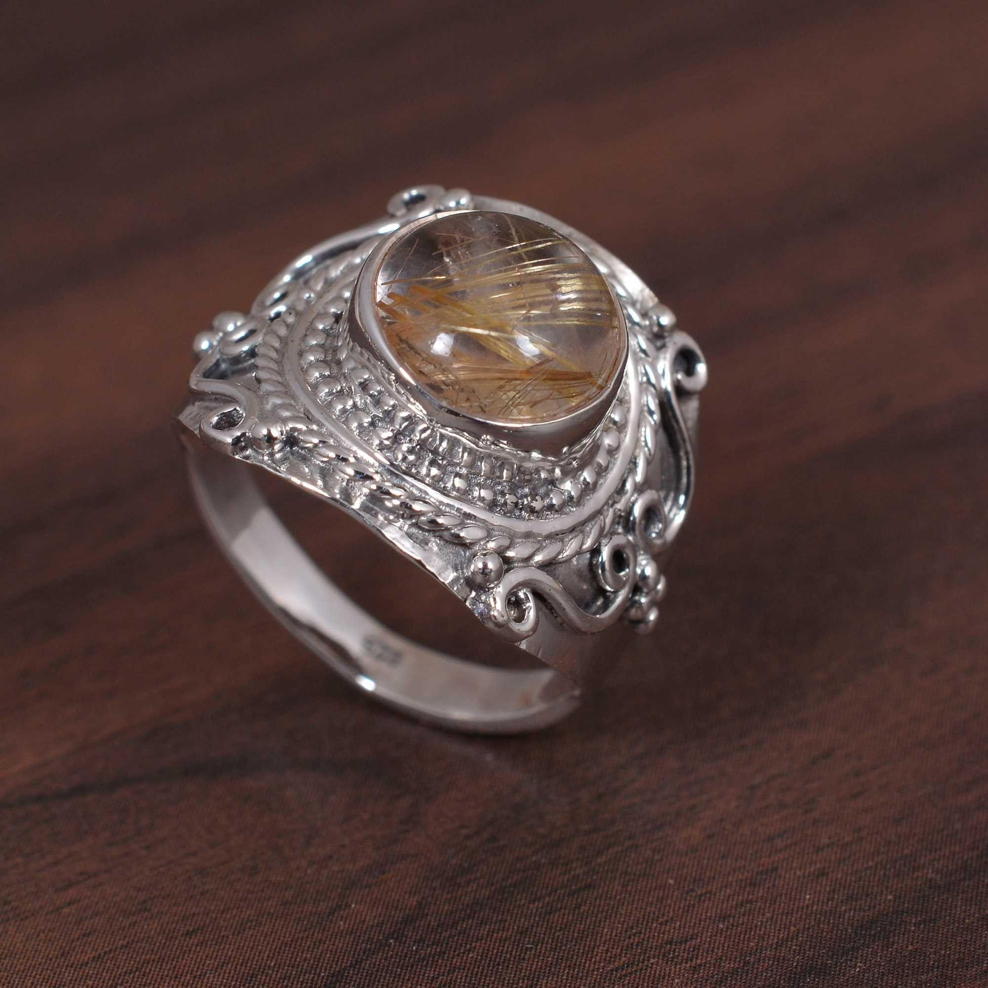 Golden Rutile Ring,Brass Ring,Gemstone Ring,Boho Ring,Vintage Ring,Statement Ring,Personalized Ring,Promise Ring,Unique Ring,Wedding Ring