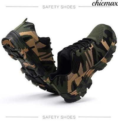 0f31f8a92ab71 Safety Steel Toe Shoes Men Waterproof Work Shoe Labor Insurance Puncture  Proof Sneakers Mens Military Army Camo Boots
