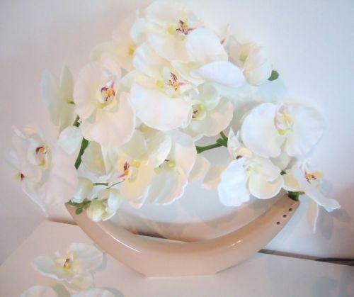 grand vase design orchidee g ant blanc x2 fleur artificielle luxe qualite 50cm compositions. Black Bedroom Furniture Sets. Home Design Ideas