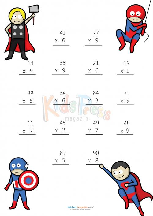 Multiplying 2 Digits by 1 Digit 3 – Printable 2 Digit Multiplication Worksheets