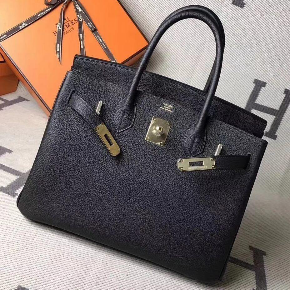 19da38128f2 Hermes Original Togo Leather Birkin 25 30 35 Handbag Black (Gole-tone  Hardware)