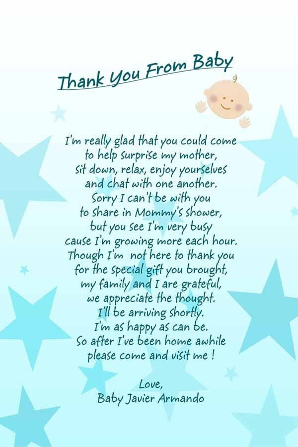 Baby Shower Thank You Poem Attached To Favor Description From