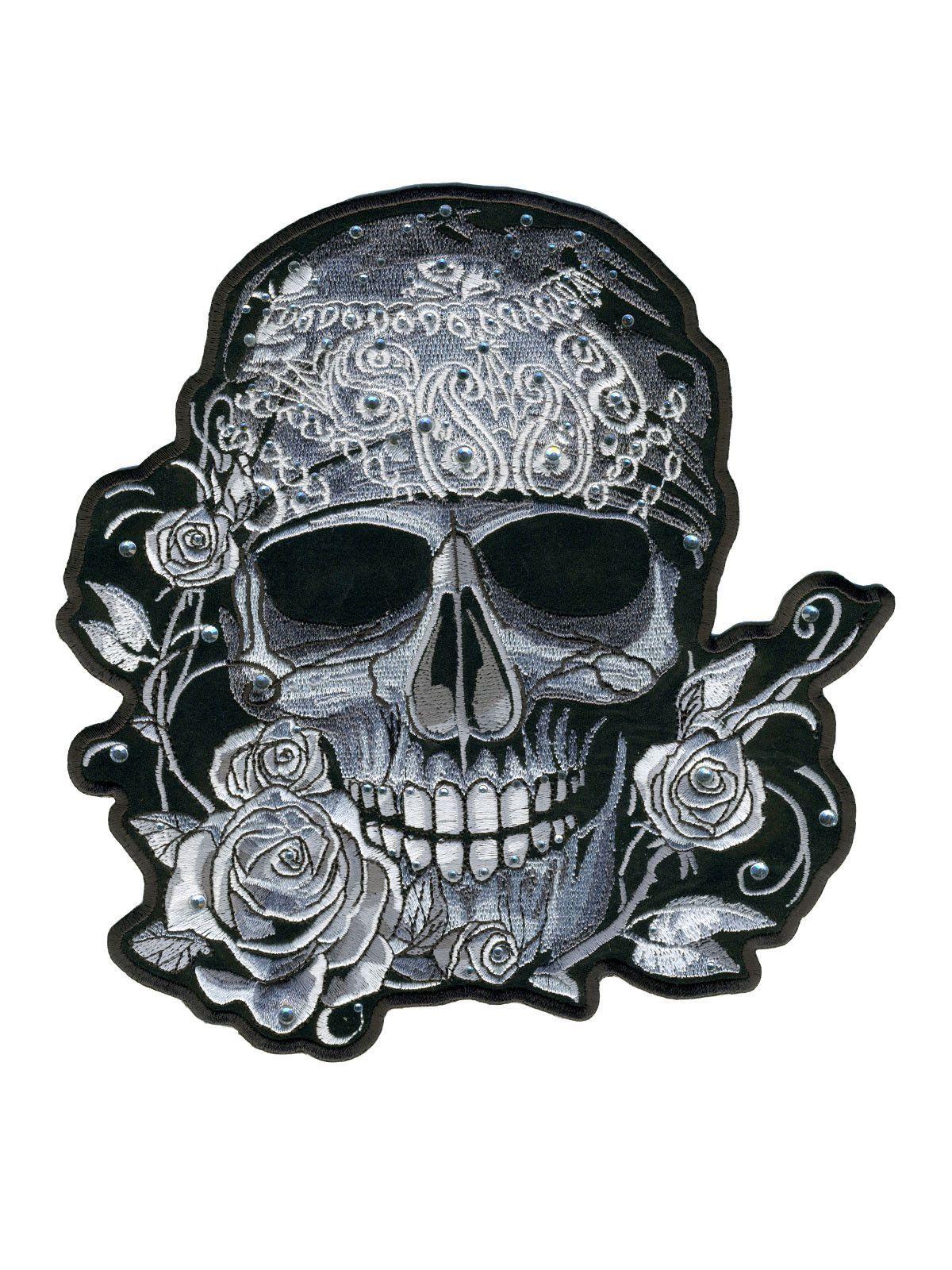 Bandana Skull Patch With Rhinestones 4 x 4 Marquesan