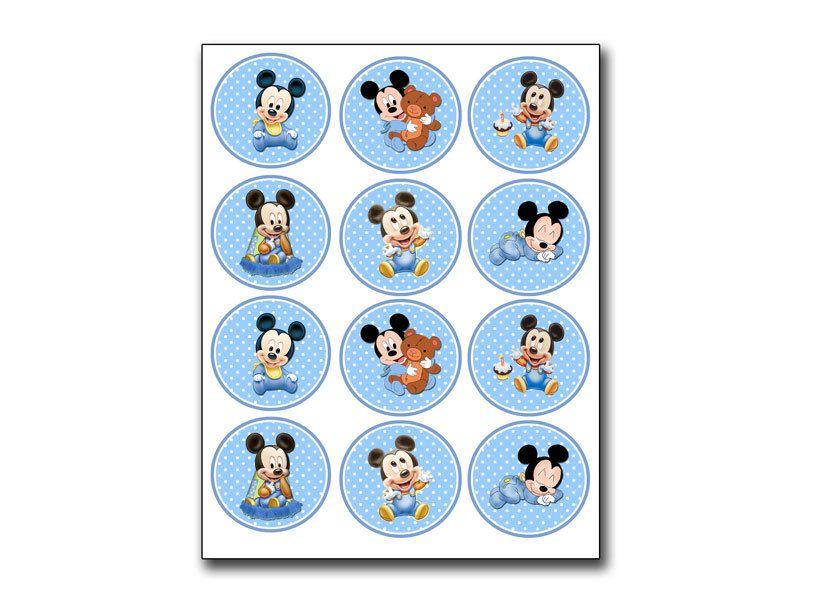 Baby Mickey Mouse Light Blue Toppers Matching Birthday Invitation