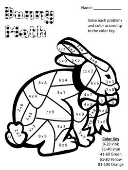 Bunny Math! Multiplication Color Key Sheet All Facts